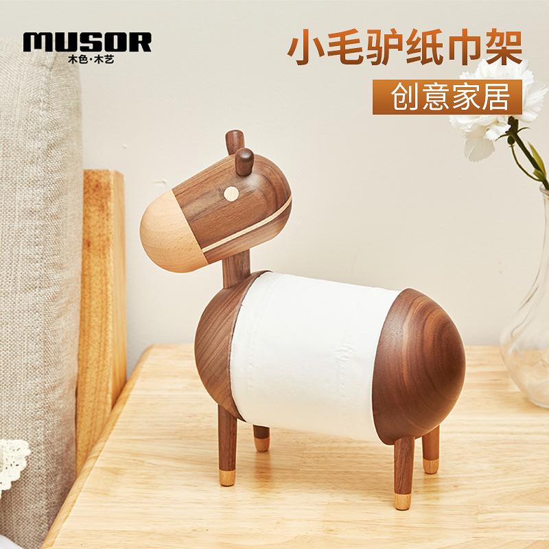 MSMY Đồ trang trí bằng gỗ Phim hoạt hình con lừa nhỏ sáng tạo giữ khăn giấy bằng gỗ
