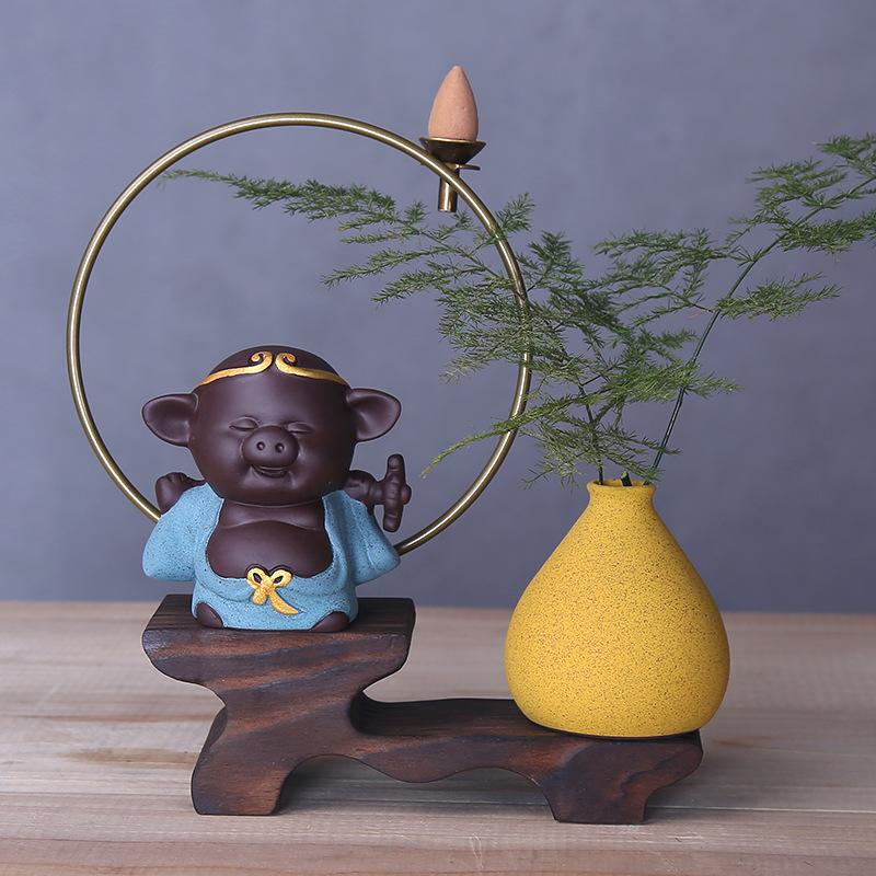 YIFENG Đồ trang trí bằng gốm sứ Gốm Thủ công mỹ nghệ Sáng tạo Trang trí Trung Quốc Lucky Fortune Pig