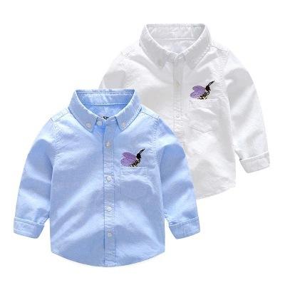 DAIDAIYOU Áo Sơ-mi trẻ em 2018 mùa thu mới thương hiệu quần áo trẻ em bé trai thêu oxford cotton áo
