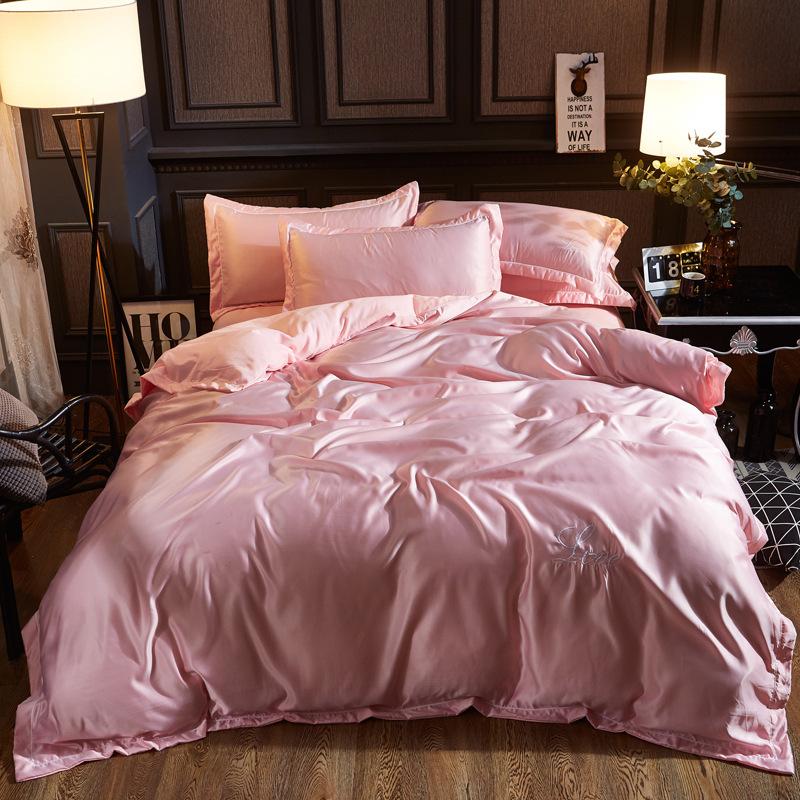 QIAOFANNA Thị trường đồ bộ Mùa hè mới giặt lụa thêu bốn mảnh đặt giường đơn 1,5 / 1,8 / 2,0 mét