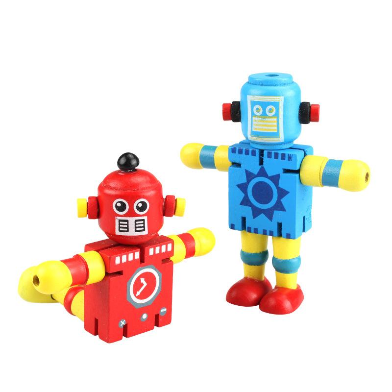 Rôbôt / Người máy Robot gỗ giáo dục sớm đồ chơi xây dựng khối sáng tạo đồ chơi biến dạng gỗ đàn hồi