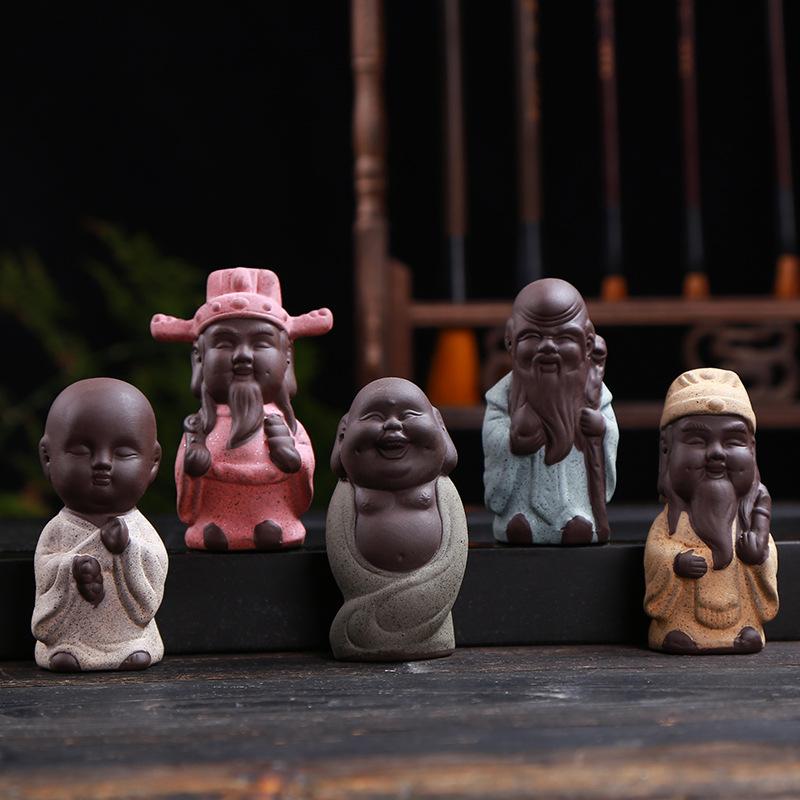 HONGCHUN Đồ trang trí bằng gốm sứ Trà Pet Thủ công mỹ nghệ Trang trí nhà gốm Nhà sư nhỏ Bán buôn chế