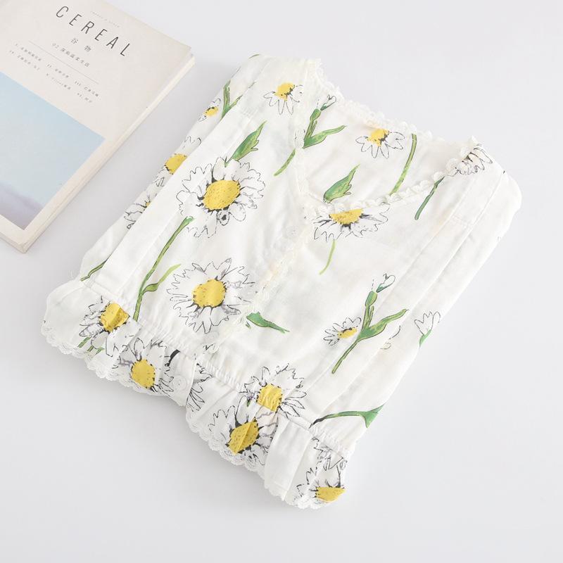 YIHONG Trang phục trong tháng (sau sinh) Quần áo gạc tháng mới hoa mùa xuân và mùa hè bông hai lớp p