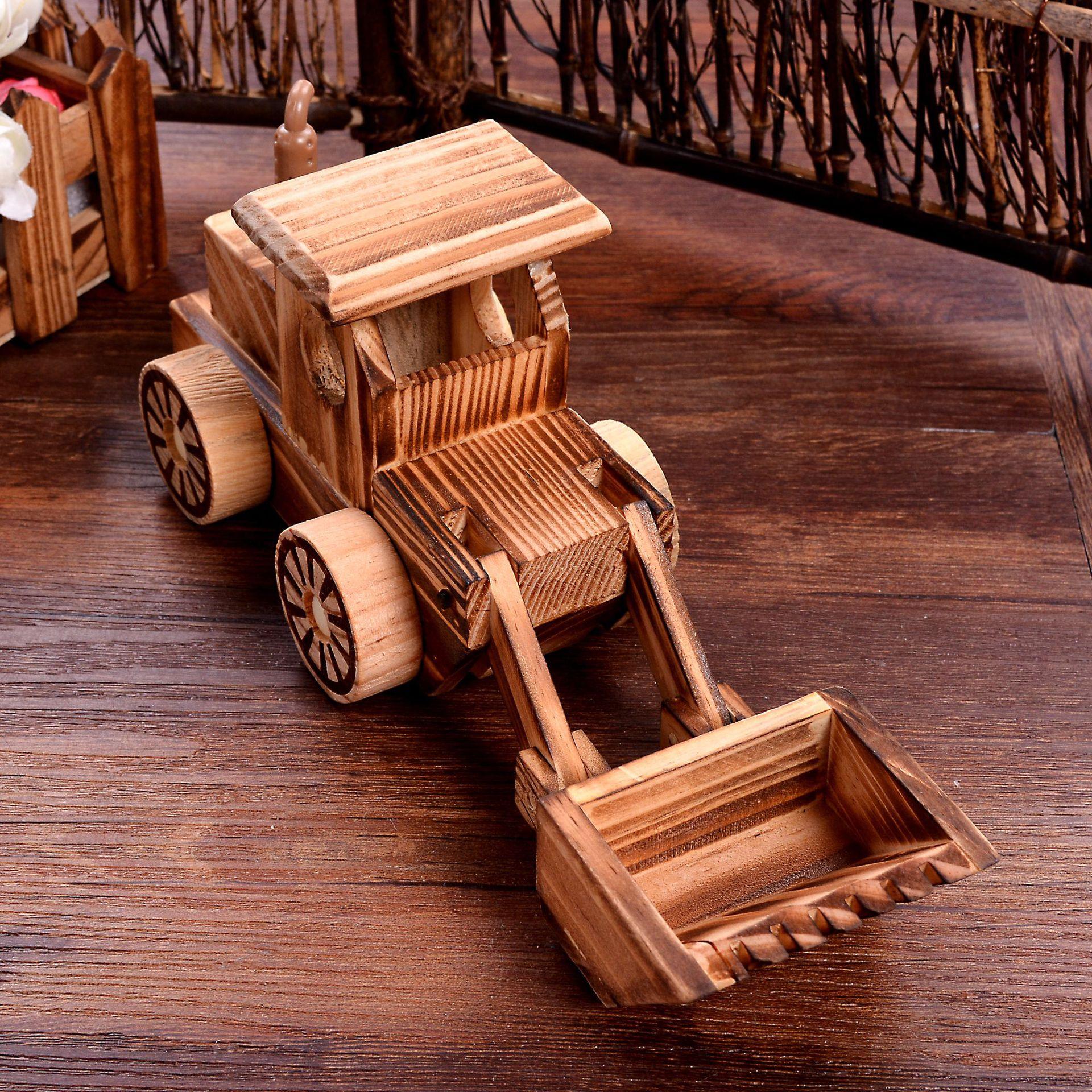 HONGQIN Đồ trang trí bằng gỗ Nhà máy trực tiếp máy xúc gỗ trẻ em đồ chơi máy ủi gỗ thủ công đồ trang