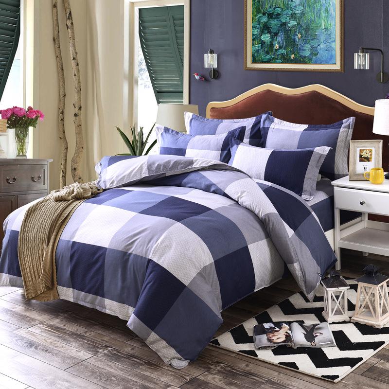 drap mền Nhà máy trực tiếp đơn giản nhà dệt bộ đồ giường bốn bộ bán buôn thân thiện với da mài sinh