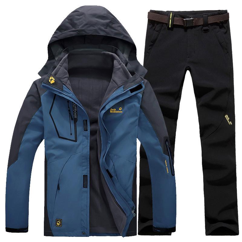 Quần áo leo núi Áo khoác cao cấp Bộ đồ hai mảnh Bộ đồ ba trong một Áo khoác ngoài trời không thấm nư