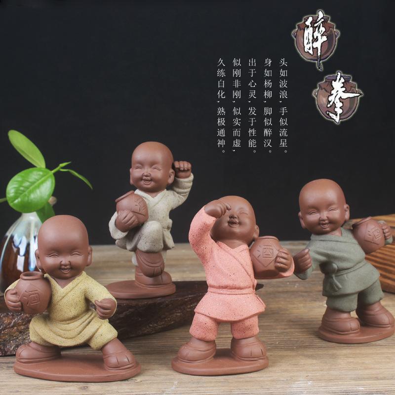 RONGSHENG Đồ trang trí bằng gốm sứ Sáng tạo Kung Fu Little Monk Drunken Box Purple Sand Tea Pet Home