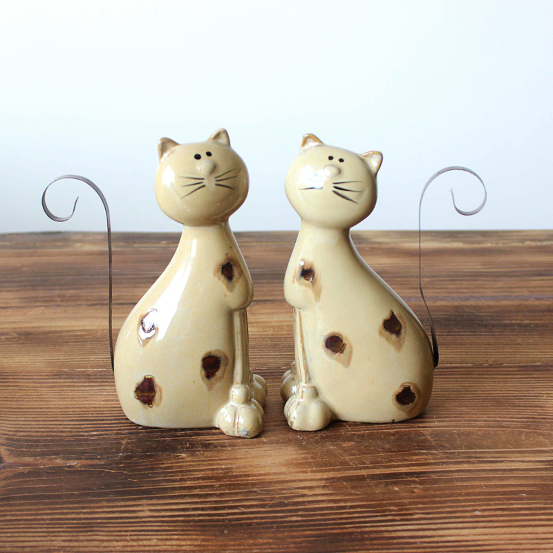 YUNHAI Đồ trang trí bằng gốm sứ Lò gốm thay đổi thủ công mèo nhà lông mèo trang trí gốm trang trí mè