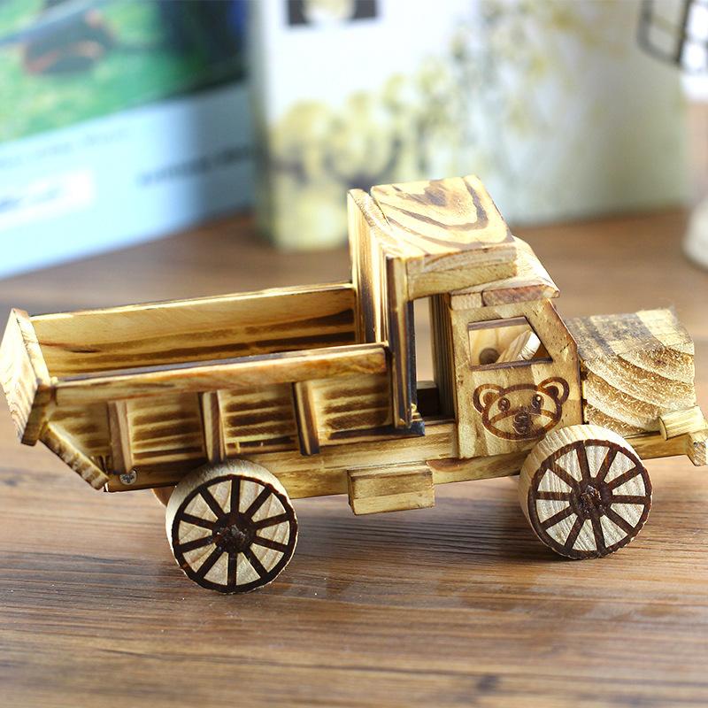 PINSU Đồ trang trí bằng gỗ Gỗ cổ đổ đồ trang trí xe tải nhà phong cảnh đồ chơi mô phỏng thủ công nón