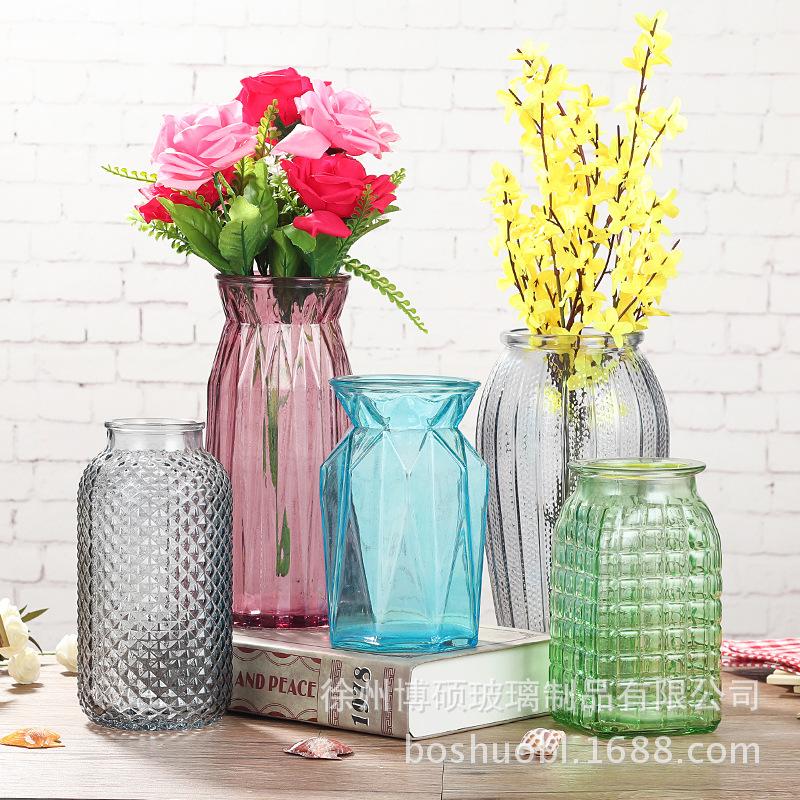 BOSHUO Bình bông Bình hoa đơn giản Châu Âu Kính trong suốt để bàn thủy canh Bình trang trí phòng khá