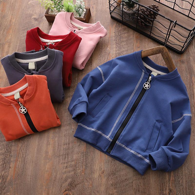 CHAOHAI Áo khoác trẻ em 2019 xuân mới trẻ em áo khoác giản dị Áo khoác cotton Hàn Quốc dây kéo bé áo