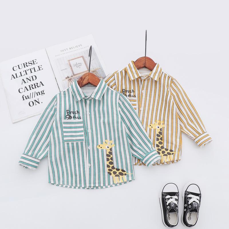 Katoofely Áo Sơ-mi trẻ em Mùa xuân mới 2019 quần áo trẻ em bé trai sọc hoạt hình in bông in áo dài t