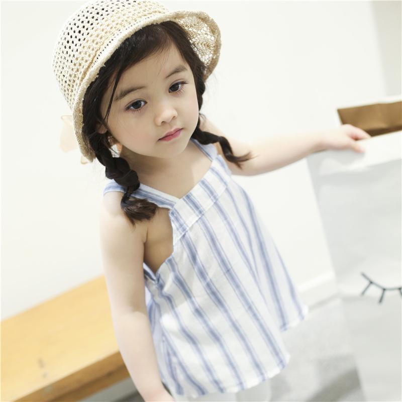 XIAOHUANGHUA Áo ba lỗ / Áo hai dây trẻ em Mùa hè 2018 phiên bản Hàn Quốc của quần áo trẻ em nữ nữ sọ