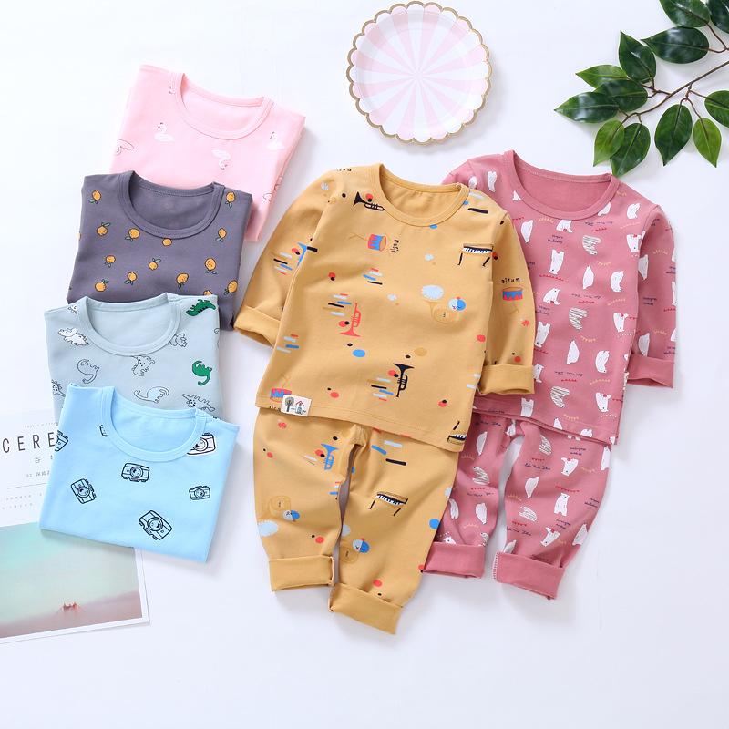 Đồ ngủ trẻ em Mùa xuân 2019 trẻ em cổ thấp mùa thu quần áo phù hợp với bé trai và bé gái Lycra thời
