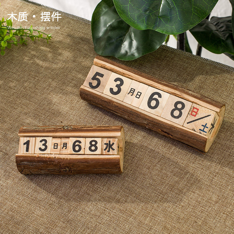 Đồ trang trí bằng gỗ Zakka retro nhật ký lịch lịch bàn để bàn trang trí nhà cafe trang trí đồ trang