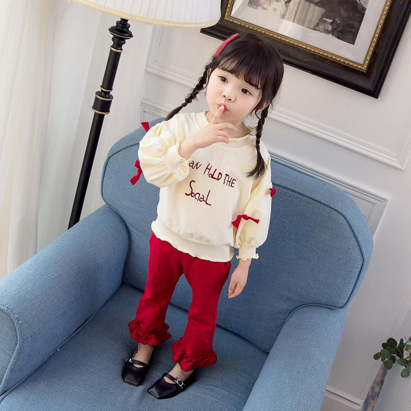 Phong cách Hàn Quốc Bộ đồ bé gái mùa xuân và mùa thu 2019 mới cho bé phiên bản Hàn Quốc của áo len n
