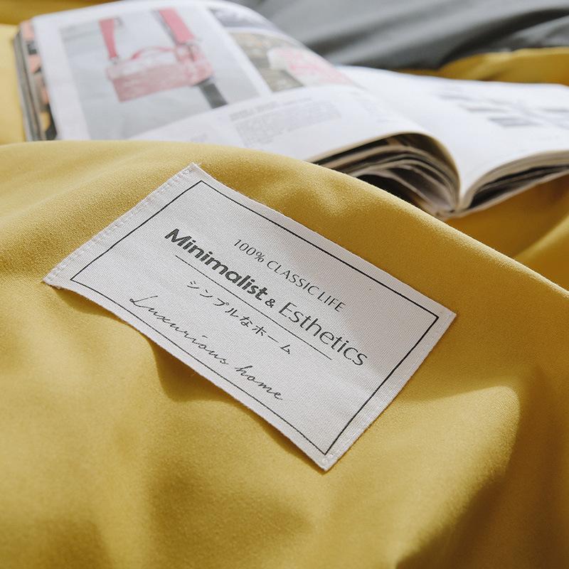 QJYJ Thị trường đồ bộ Nhà máy trực tiếp Châu Âu và Hoa Kỳ rắn màu đôi chính tả chà nhám bốn bộ chăn