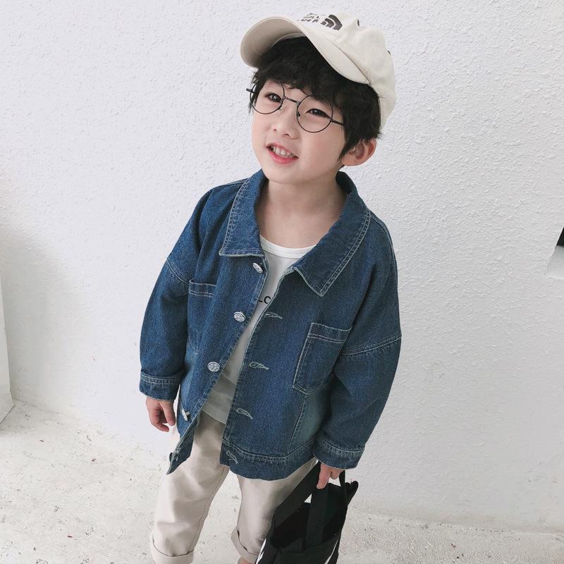 XLWW Trang phục Jean trẻ em Mùa xuân 2019 quần áo trẻ em mới trẻ em áo khoác denim màu rắn bé trai q