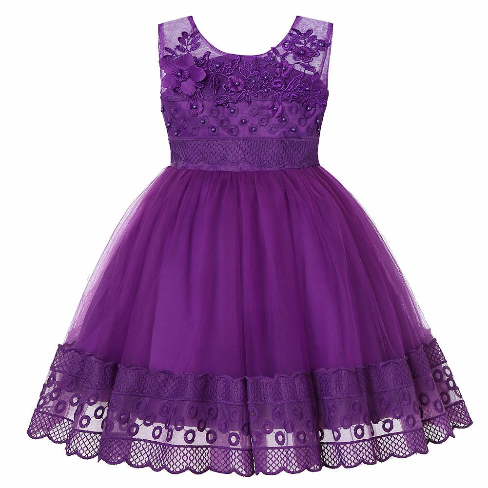 Trang phục dạ hôi trẻ em Trẻ em ăn mặc mới nổ mô hình không tay lưới trẻ em bên váy công chúa mặc hạ