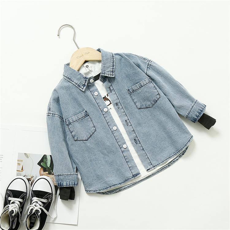 Áo Sơ-mi trẻ em Mùa xuân quần áo trẻ em Hàn Quốc Trẻ em cotton retro thủ công giặt đôi cũ đơn giản á