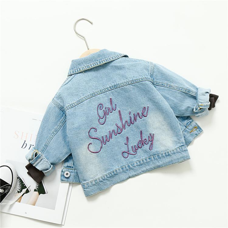 Trang phục Jean trẻ em Trẻ em denim 2019 xuân Hàn Quốc trẻ em thêu chữ thêu nhẹ áo khoác denim bán b