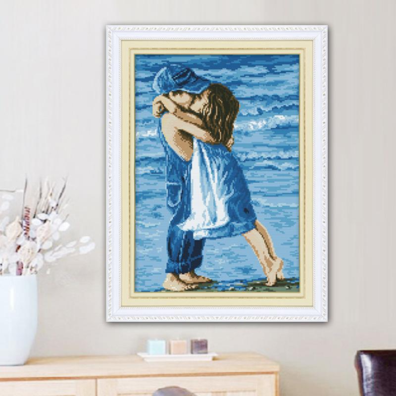 Tranh thêu chữ thập In chính xác biển thêu chữ nhật ôm ấp ấm áp Phòng ngủ trẻ em phòng tranh nhỏ tra