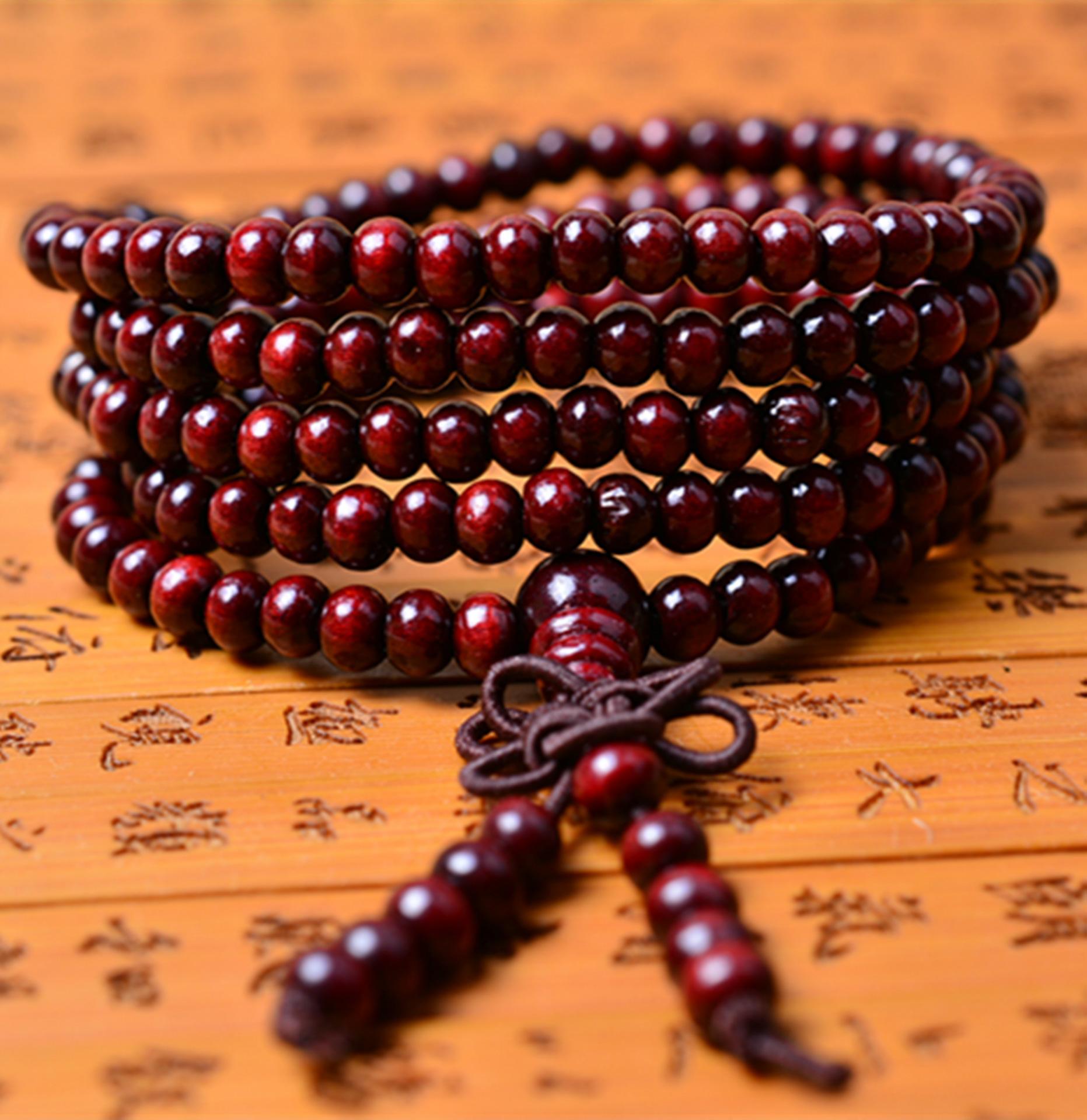 QINGXIN Chuỗi phật 108 hạt vòng tay vòng tay Thời trang cặp đôi vòng tay hạt cầu nguyện Phật giáo