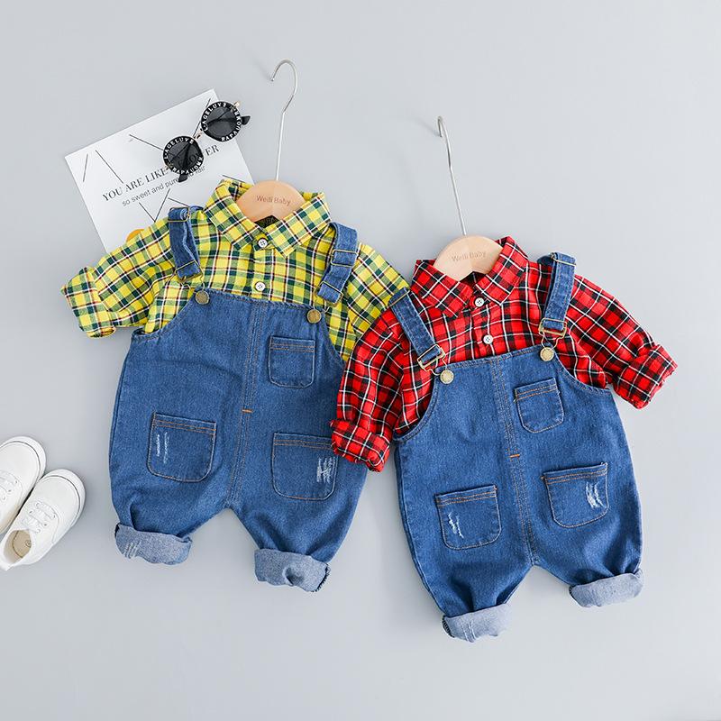 Phong cách Hàn Quốc Mùa xuân 2019 quần áo trẻ em mới của trẻ em Hàn Quốc phù hợp với bộ đồ kẻ sọc bằ