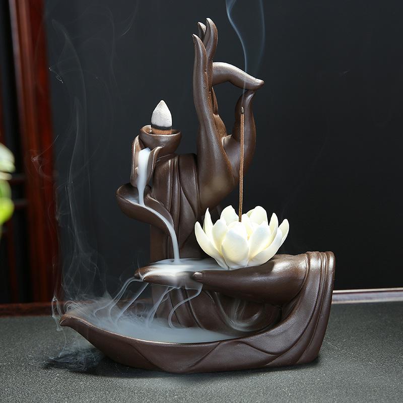 CHUANGYA Lư hương Cát tím lại đốt nhang Thiền Phật tay gỗ đàn hương nhà trong nhà cổ hương liệu pháp
