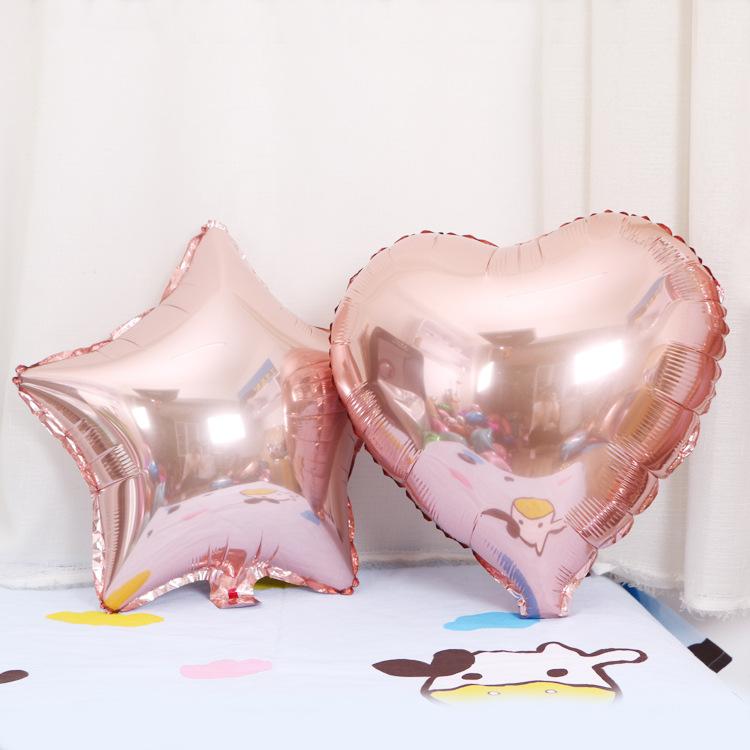 HENGYUE Trang trí lễ cưới 18 inch tình yêu hoa hồng vàng hồng vàng nhôm bóng bong bóng vàng sâm banh