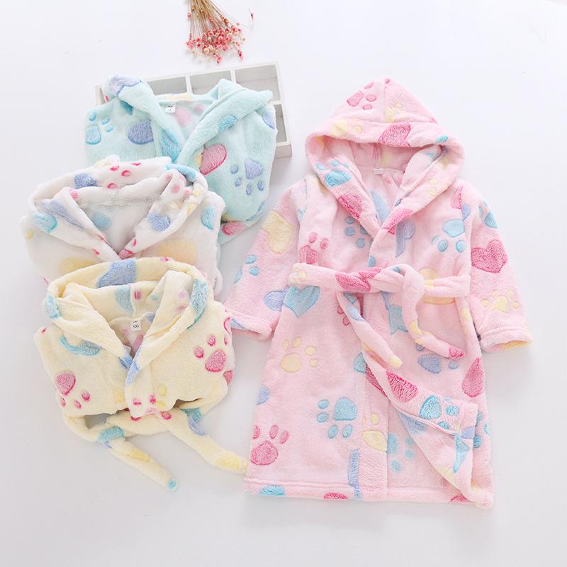 Đồ ngủ trẻ em Mùa thu và mùa đông áo choàng trẻ em áo choàng tắm cho trẻ em Áo choàng tắm cho trẻ em