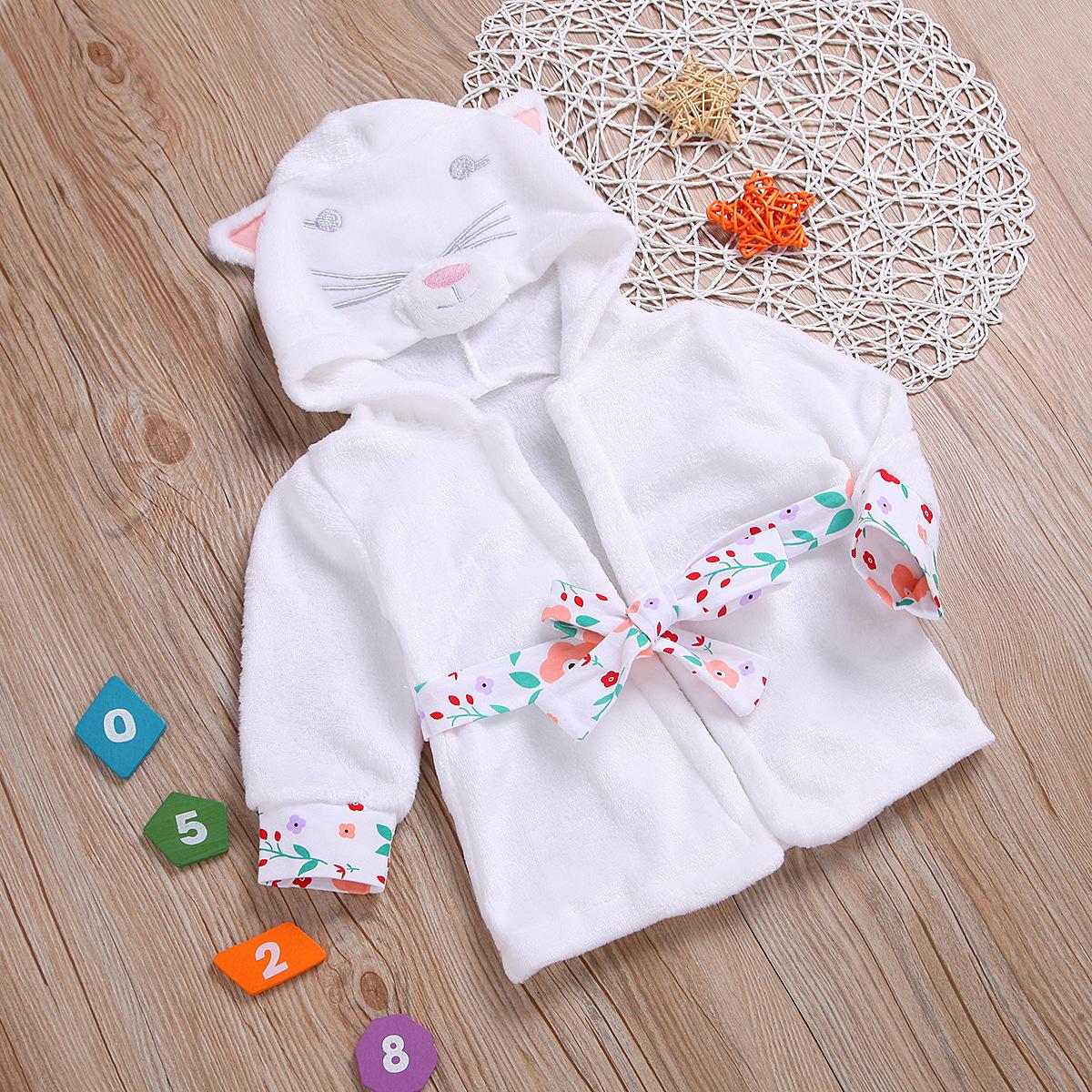 Đồ ngủ trẻ em Quần áo trẻ sơ sinh màu rắn dễ thương trùm đầu dài tay áo nhà máy trực tiếp quần áo tr