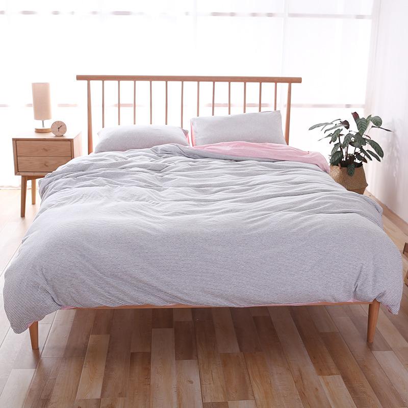 QINGJIUFANG Thị trường đồ bộ Bộ đồ cotton bốn mảnh chất lượng tốt Tianzhu kiểu Nhật dệt kim sọc bông