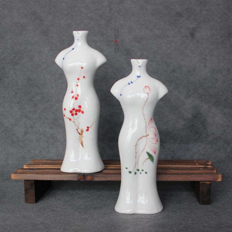 YJMH Đồ trang trí bằng gốm sứ Phong cách Trung Quốc tươi tay vẽ sườn xám Tang phù hợp với cao gốm tr