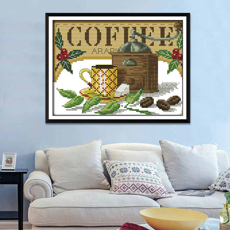 Tranh thêu chữ thập Mới in chữ thập trà cốc nhà hàng phòng khách nhỏ vẫn cuộc sống trang trí nhà máy