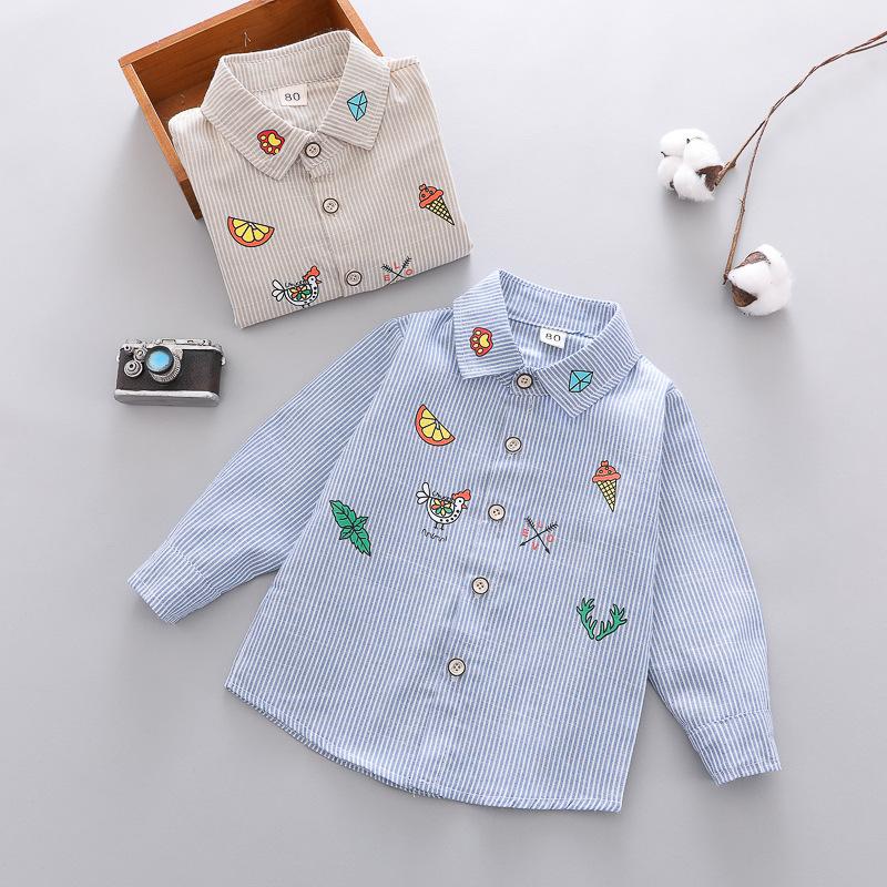 GLG Áo Sơ-mi trẻ em Baby plus nhung boy 1-3 Áo hàn quốc Thu đông và áo khoác nhung cho bé Áo cotton
