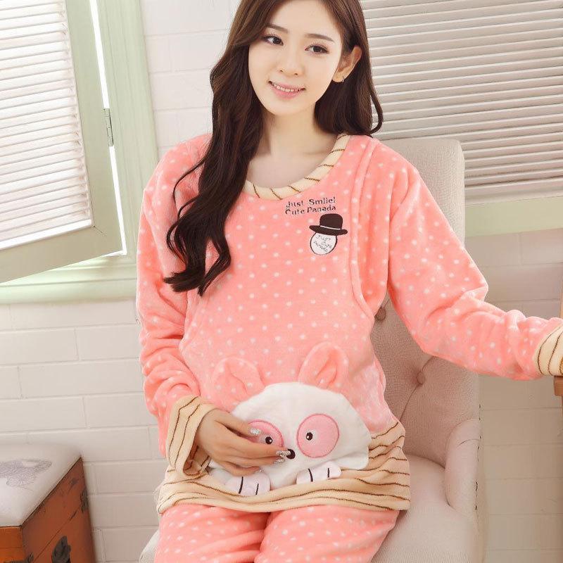 AKADAN Trang phục trong tháng (sau sinh) Tháng quần áo mùa thu và mùa đông flannel dày đồ ngủ bà bầu