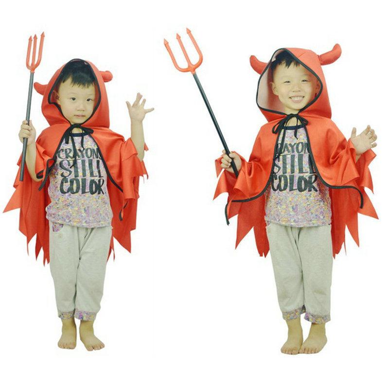 WWZF Áo choàng trẻ em Mới màu đỏ quỷ sừng áo choàng áo choàng cosplay nhân vật trang phục trang phục