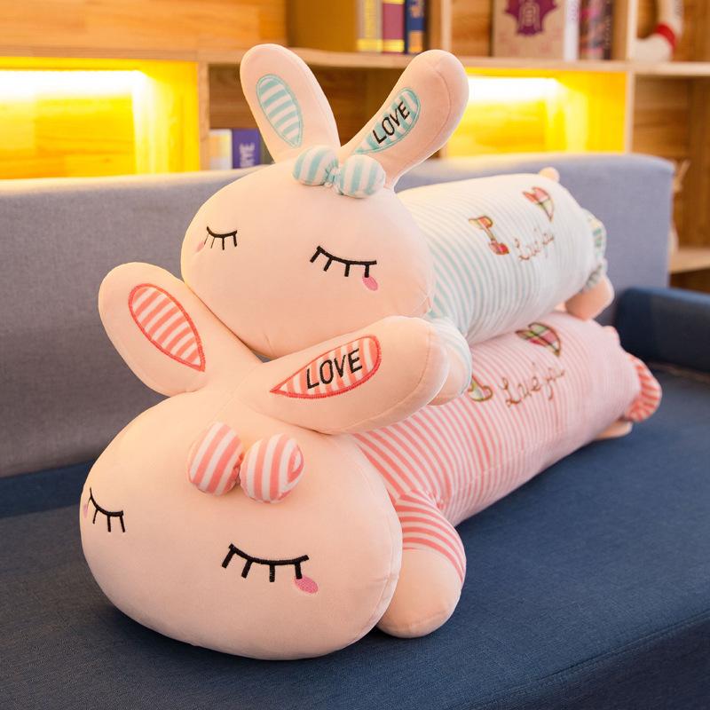 QIANMEIDAI Búp bê vải Phim hoạt hình dễ thương mới thỏ gối siesta gối sọc thỏ đồ chơi búp bê trẻ em