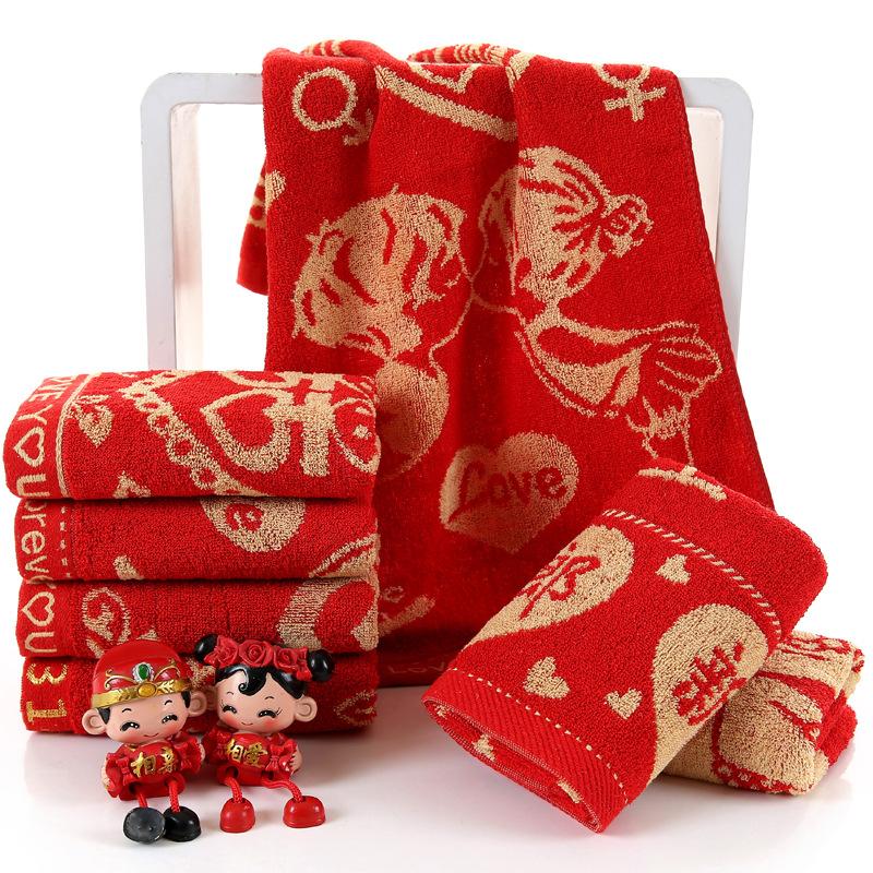 HAOWAN Khăn đám cưới Nhà máy bán buôn đám cưới cung cấp khăn đỏ Nhiều loại hoa hấp thụ nước jacquard
