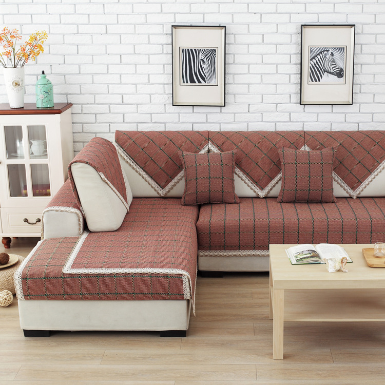 YIJIA Đệm lót SoFa Bu Fan 2018 mới quạt văn học đệm ghế sofa hiện đại tối giản bốn mùa khăn sofa đỏ
