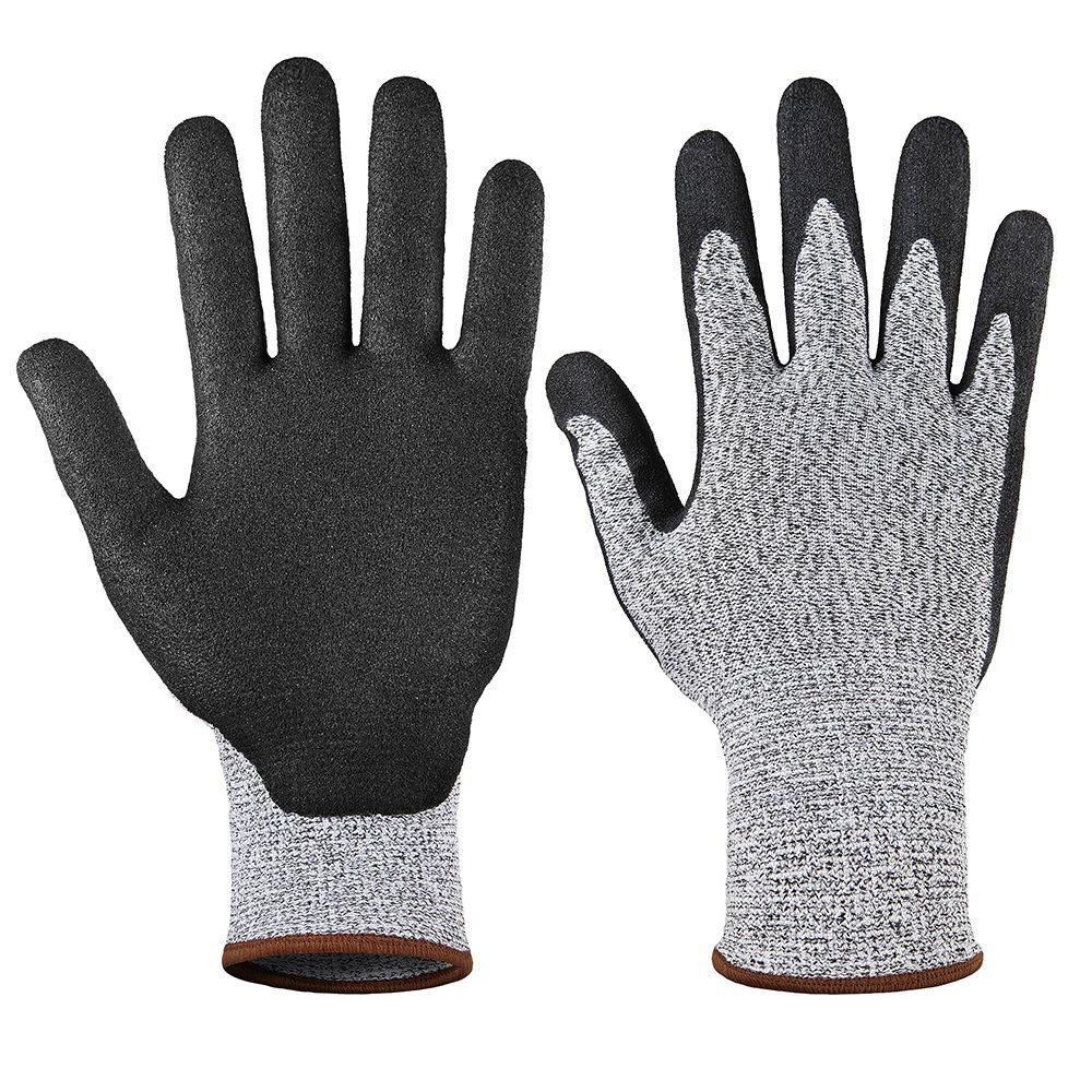 Lingchengsafety Găng tay chống cắt Găng tay chống đâm nitrile năm giai đoạn HPPE nhúng găng tay chốn