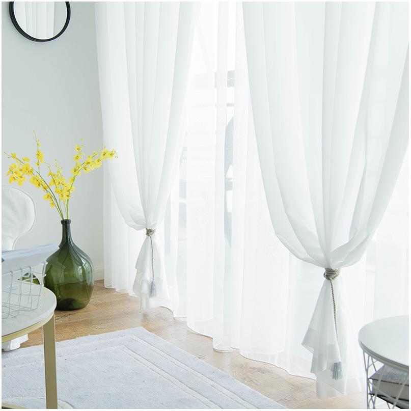rèm thuỷ tinh Màn hình cửa sổ đơn giản hiện đại phân vùng trang trí phòng ngủ voan vải cát trắng giả