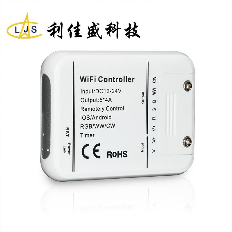 LJS Mạch bo Bộ điều khiển wifi led led 5 chiều đầy màu sắc đầy đủ với dải ánh sáng mờ điều khiển thô