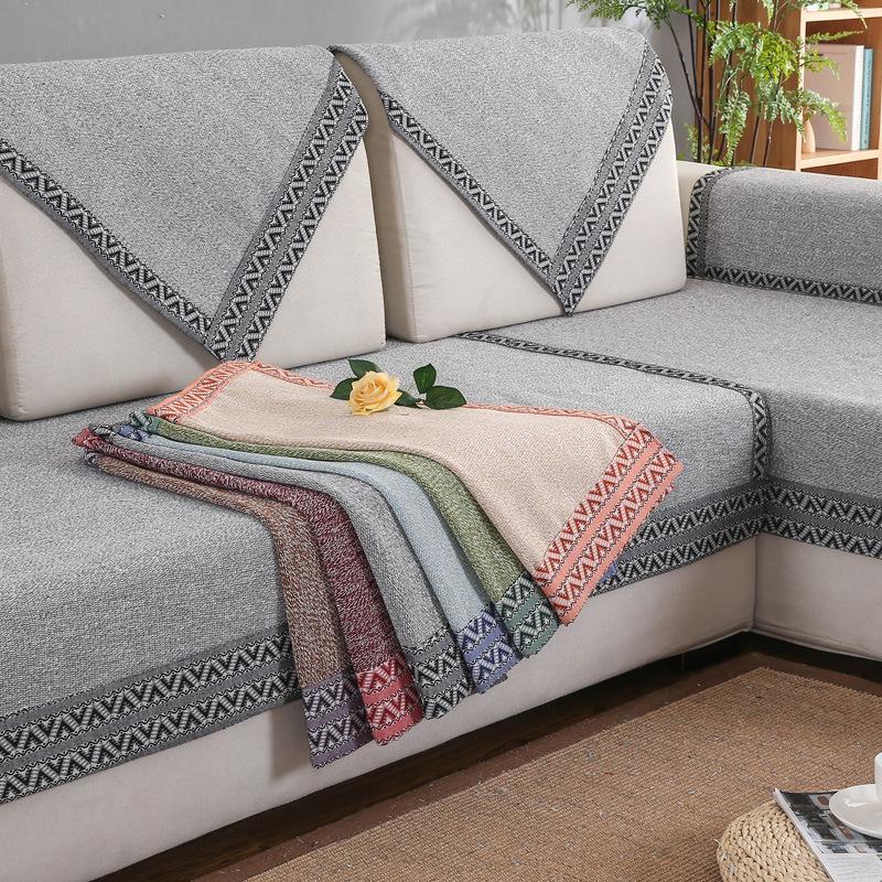 LIELV Đệm lót SoFa Bốn mùa vải bông và vải lanh đệm đơn giản màu vải rắn chống trượt khăn bông dệt v