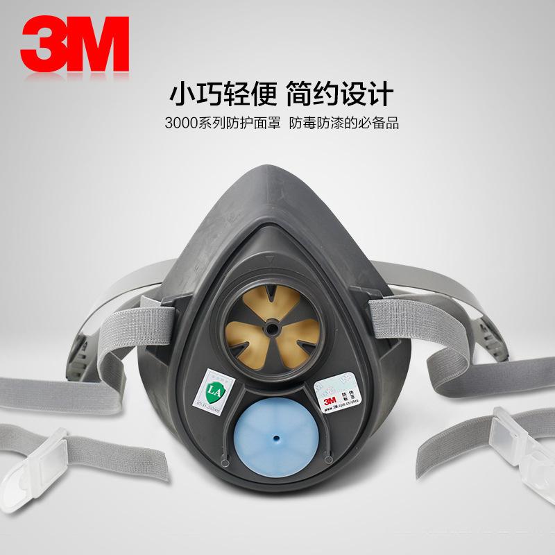 3M Mặt nạ phòng chống khí độc Mặt nạ phòng độc 3M phun sơn hô hấp chống bụi 3200 hóa chất khí công n