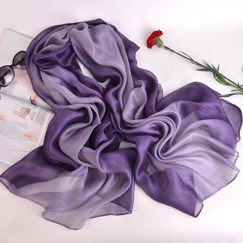 Khăn biến màu Mùa hè và mùa thu lụa phân cấp lụa khăn bông và khăn turban bãi biển khăn chống nắng k
