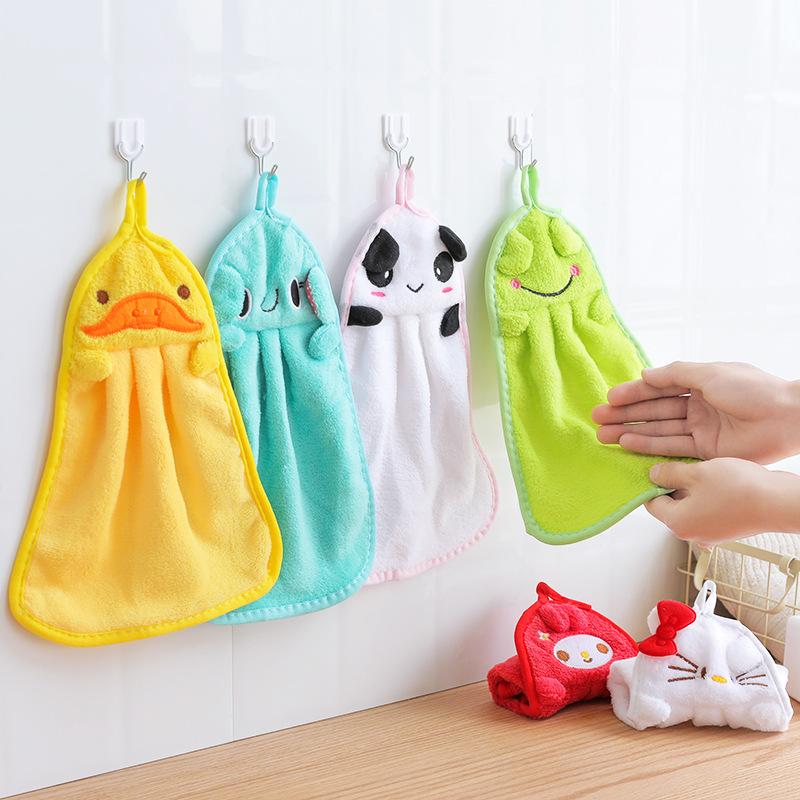 khăn lau tay 1310 phim hoạt hình treo khăn siêu thấm san hô lông cừu dày lên tay khăn bếp rách khăn