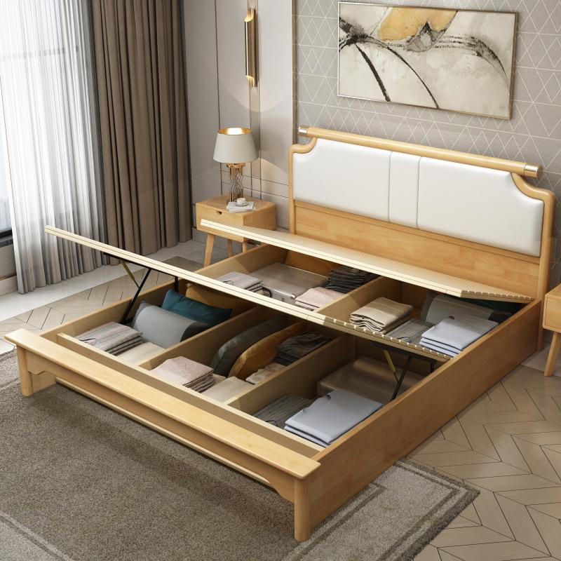 Nội Thất phòng Ngủ : Giường gỗ đôi Thiết kế hiện đại tối giản 1,8 m .