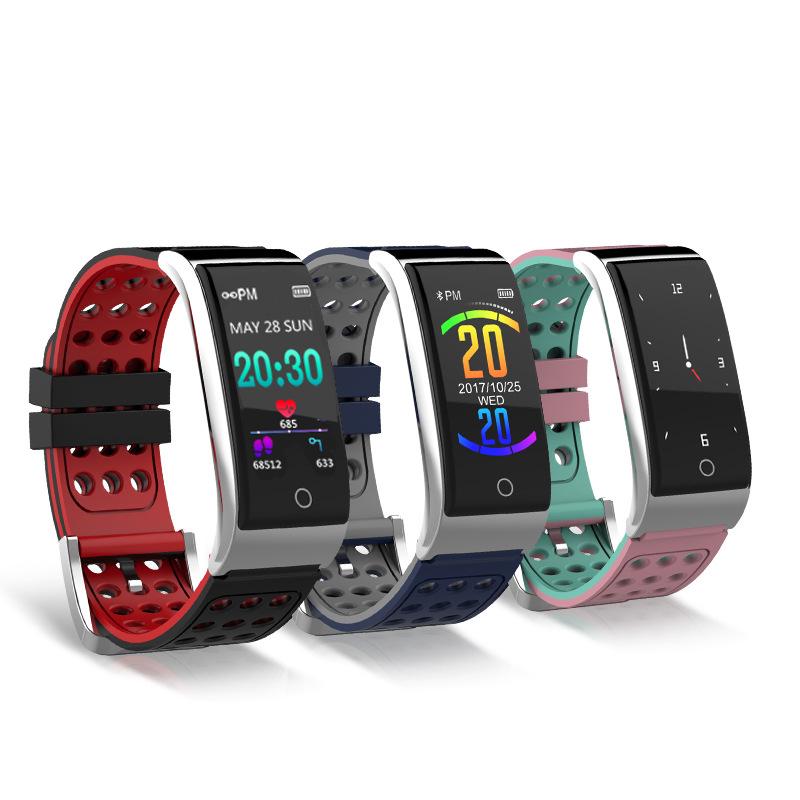 FGHGF Vòng đeo tay thông minh Mới màn hình màu E08 vòng đeo tay ECG thông minh ECG + PPG nhịp tim tậ